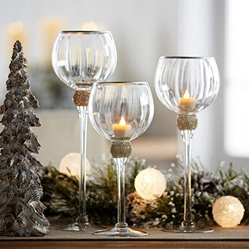Melrose Set of 3 Beveled Glass Clear and Gold Accented Decorative Votive Candle Holders