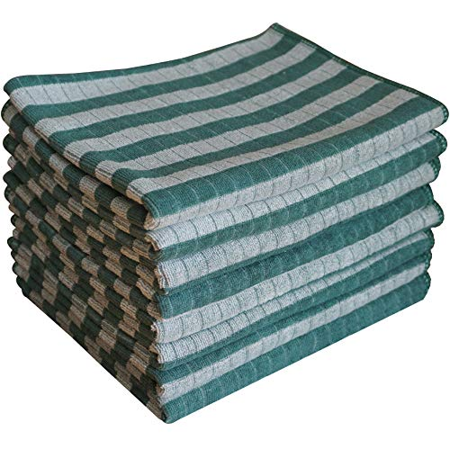 Gryeer Bamboo and Microfiber Dish Towels, Super Soft, Absorbent Kitchen Towels, 18 x 26 Inch, Pack of 8 - Green