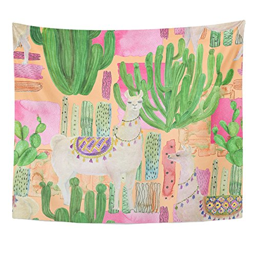 - Emvency Tapestry Print 50x60 Inches White Alpaca Watercolor Painting Llamas Cacti Peru Pet America Animal Wall Hangings Home Decor