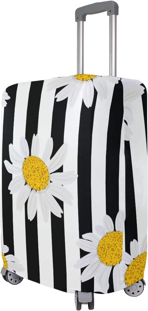 Travel Luggage Cover Daisy Fowers Black White Stripes Suitcase Protector