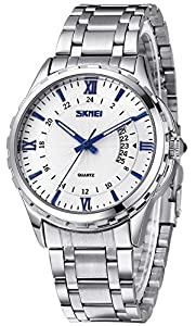 INWET Casual Men's Quartz Watch with Date Calendar,White Dial Blue Hands and Indexes, Silver Stainless Steel Bracelet