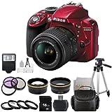 Nikon D3300 24.2 MP CMOS DSLR Camera with AF-S DX Nikkor 18-55mm f/3.5-5.6G VR Lens, Red - International Version (No Warranty) + 16GB Accessory Bundle