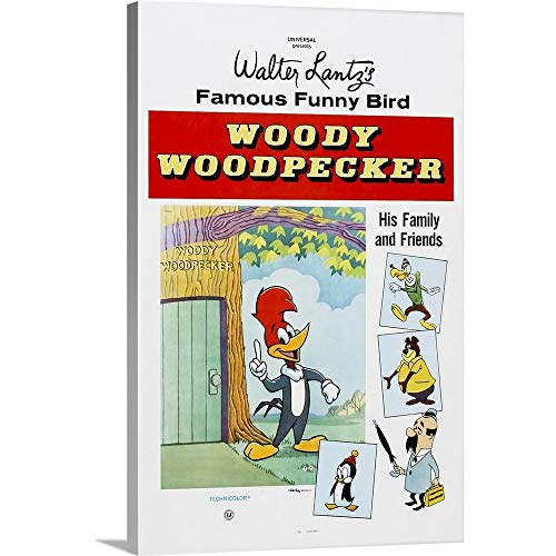 Premium Thick-Wrap Canvas Wall Art Print Entitled Woody Woodpecker, 1950's 12