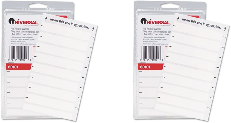 Universal File Folder Labels for Typewriters White 4 248//Pack 9//16 x 3-13//16
