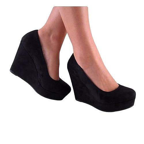 37377cd1c Amazon.com | SODA Women's Beer Platform Wedge Shoes, Black, 8 | Pumps