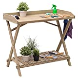 New Console Serving Table Wood Potting Bench Workstation Shelf Display Patio Outdoor