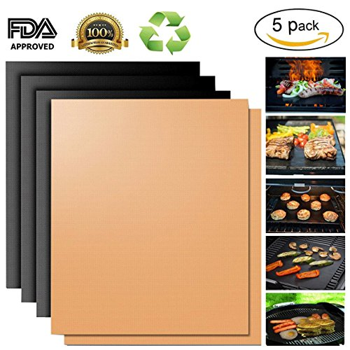 Copper Grill Mat,Non Stick BBQ Baking Mat Set of 5 Reusable,Easy to Clean PTFE Teflon Fiber Grill Roast Sheets for Gas, Charcoal, Electric Grill (Gold and Black)