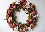Front Door Wreath Artificial Flowers Autumn Decoration Vintage Home Holiday Wall Decor 24inch