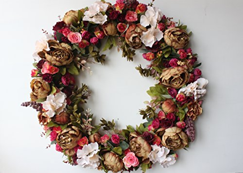 Front Door Wreath Artificial Flowers Autumn Decoration Vintage Home Holiday Wall Decor 24inch (Brown Wreath Hanger)