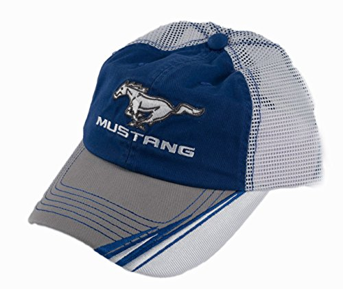 Yates Performance Mustang Blue Gray White Baseball Hat Running Horse Logo