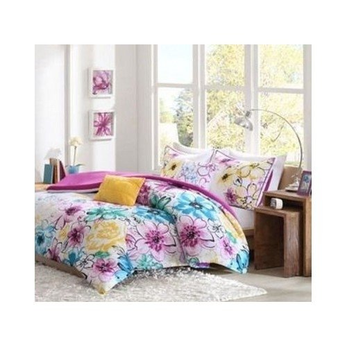 Comforter Bed Set Girls Teen Bedding Floral Flowers Teal Green Yellow Purple