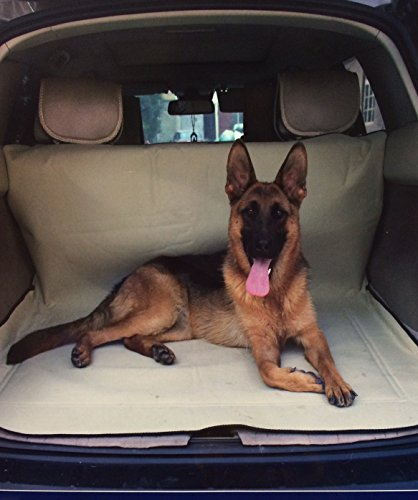 Extra Tough Guarded Khaki Fabric Tan Color Car, SUV, Vans, Truck Pet Dog Cat Seat Covers for Back Seats and Cargo One Size Fits Most for Dogs size Small Medium (Dog Canvas Mat)