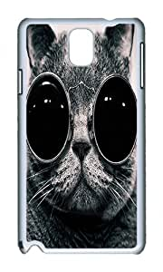 Samsung Note 3 Case,VUTTOO Stylish Cats With Glasses Hard Case For Samsung Galaxy Note 3 / N9000 / Note3 - PC White