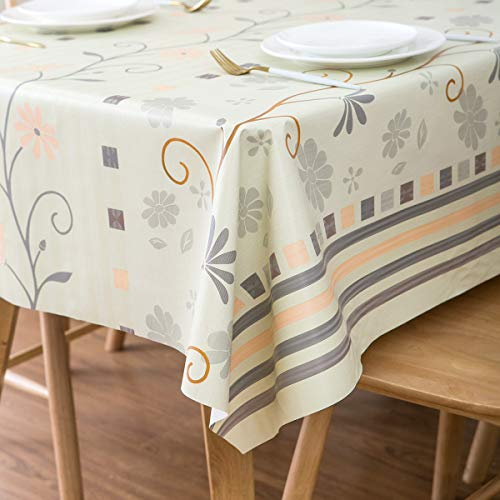 LEEVAN Heavy Weight Vinyl Square Table Cover Wipe Clean PVC Tablecloth Oil-Proof/Waterproof Stain-Resistant-54 x 84 Inch (Beige Leaf)