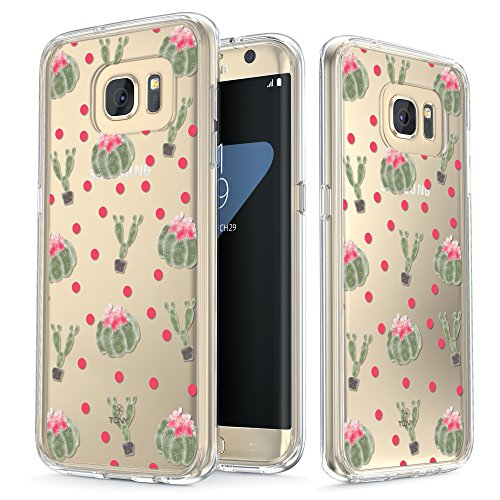 Samsung Galaxy S7 Edge Case - True Color Clear-Shield Cactus Flowers [Flower Power] Printed on Clear Back - Perfect Soft and Hard Thin Shock Absorbing Dustproof Full Protection Bumper Cover