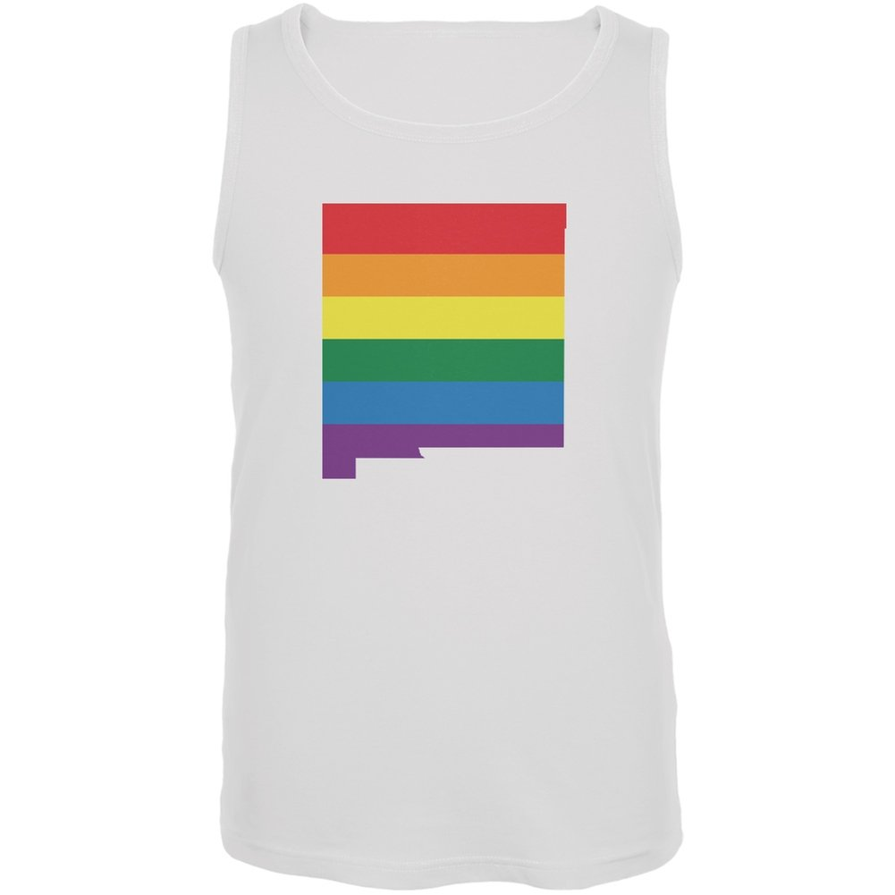 New Mexico LGBT Gay Pride Rainbow White Adult Tank Top