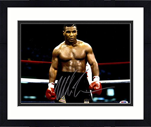 """Framed Mike Tyson Autographed 11"""" x 14'' USA Trunks Horizontal Photograph - Fanatics Authentic Certified by Sports..."""