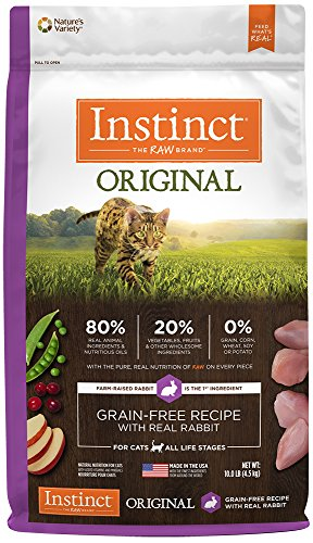 Instinct Original Grain Free Recipe with Real Rabbit Natural Dry Cat Food by Nature's Variety, 10 lb. - Food Grain Rabbit Free Cat