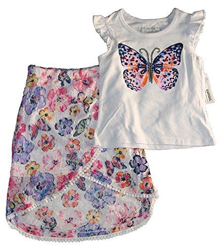 Flapdoodles Girl's Butterflies Skirt Set (2T) -