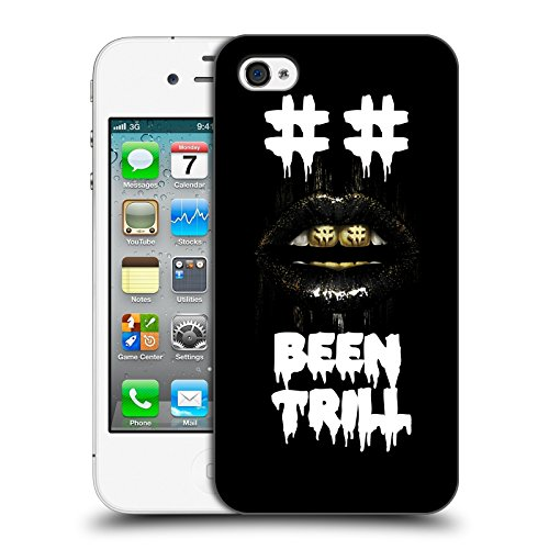 Official Been Trill Hashtag Mouth Grill Glitch Hard Back Case for Apple iPhone 4 / 4S