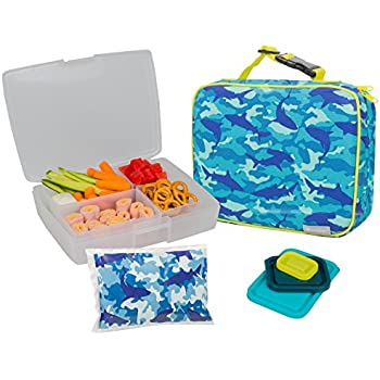 Bentology Lunch Bag and Box Set for Boys - Includes Insulated Sleeve with Handle, Bento Box, 5 Containers and Ice Pack - Camo