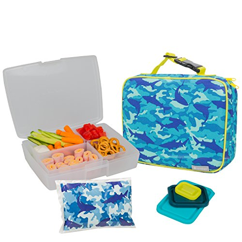 bentology lunch bag and box set for boys includes insulated sleeve with handle bento box 5. Black Bedroom Furniture Sets. Home Design Ideas