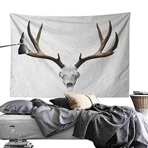 Modern Tapestry, Antlers,A Deer Skull Skeleton Head Bone Halloween Weathered Hunter Collection, Warm Taupe Pale Grey Window Curtain Picnic Mat60 x80