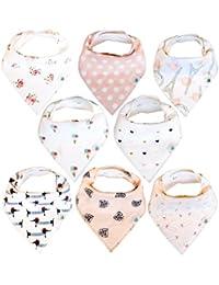 Baby Bandana Drool Bibs 8 Pack for Girls, Hypoallergenic...