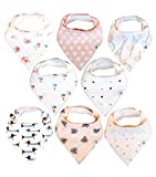 Baby Bandana Drool Bibs 8 Pack for Girls, Hypoallergenic Soft Organic Cotton with Snaps for Teething Drooling, Baby Shower Gift for Girl, Newborn Registry Must Haves, Burp Cloth, Pink Blush Rose