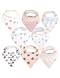 Baby Bandana Drool Bibs 8 Pack for Girls, Hypoallergenic Soft Organic Cotton With Snaps for Teething Drooling, Baby Shower Gift For Girl, Newborn Registry Must Haves, Burp Cloth, Pink Blush Rose BOBEBE Online Baby Store From New York to Miami and Los Angeles