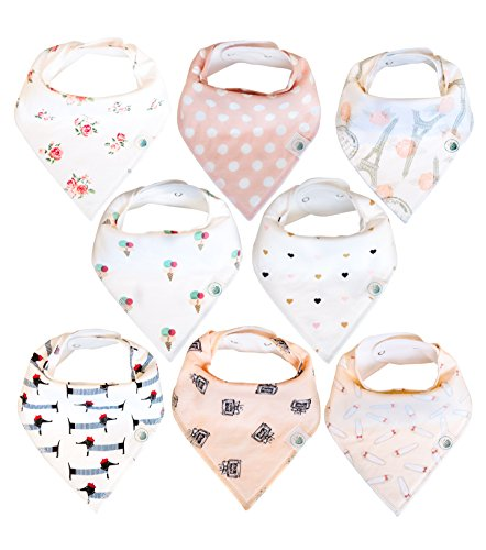 Baby Bandana Drool Bibs 8 Pack for Girls, Hypoallergenic Soft Organic Cotton with Snaps for Teething Drooling, Baby Shower Gift for Girl, Newborn Registry Must Haves, Burp Cloth, Pink Blush - Cloth Newborn Burp Toddler