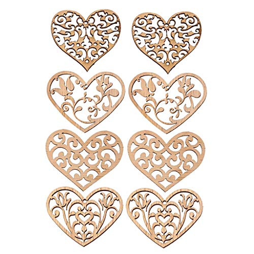 Assorted Wooden Boxes - Prettyia 8 Pieces Assorted Wooden Heart Shapes Vintage DIY Cutouts Hollowed Wood Heart Embellishment for Scrapbooking Crafting DIY Wedding Party Decoration