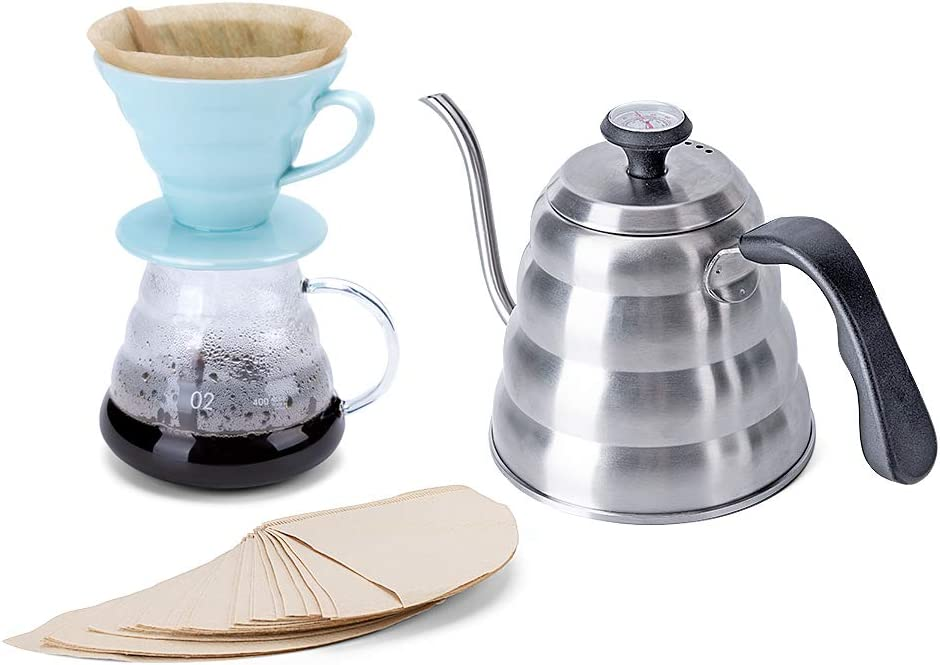 Pour Over Coffee Maker Set Includes Coffee Carafe Pour Over Coffee Kettle with Thermometer 1.2L up to 40 oz. , V60 Paper Coffee Filter, Coffee Dripper and Glass Range Coffee Server