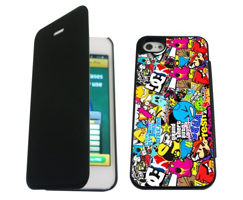 iphone 5 5S Sticker Bomb Funky Designer Brieftasche Hülle pouch Flip Cover Shockproof Defender Case