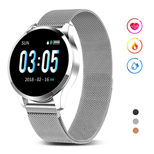 GOKOO Smart Watch for Men Women with All-Day Heart Rate Blood Pressure Sleep Monitor IP67 Waterproof Activity Tracker Calorie Running Counter Silver