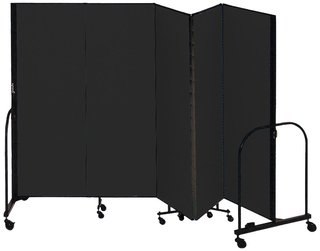 Screenflex Commercial Portable Room Divider (CFSL605-DX) 6 Feet High by 9 Feet 5 Inches Long, Designer Black Fabric