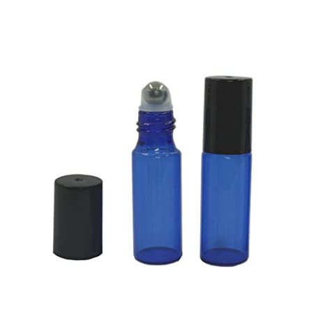 a7b7abf4a9fd Empty Refillable 5ml Blue Glass Roller Bottles 10 Pcs Fragrance Essential  Oil Roll On Bottles Travel Perfume Lip Balm Cosmetic Metal Roller Ball  Glass ...