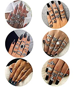 Besteel 62 Pcs Womens Knuckle Rings for Girls Stackable Midi Joint Finger Ring Set
