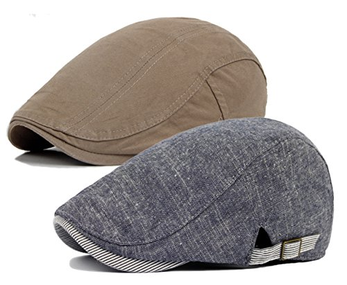 Qunson Men's Gatsby Ivy Irish Hunting Newsboy Cabbie Hat Cap (B-2 PACK) (Duckbill Cap)