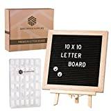 Premium Changeable Letter Board Black Felt, 10 x 10 inch, Small Display Stand, Wall Mount, Precut Cut Letters in a Letter Box, 300 Plus Letter, Symbols and Emojis