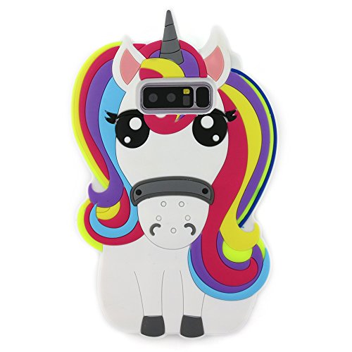 Galaxy Note 8 Case, 3D Cartoon Cute Rainbow Unicorn Horse Animal Shaped Soft Rubber Silicone Case Cover for Samsung Galaxy Note 8 (2017) (Rainbow Horse) (3 Note Case Cute Rubber)