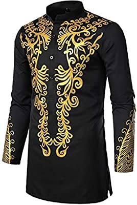 Suncolor8 Mens Plus Size Long Sleeve Stand Collar African Print Dashiki Mid Length Shirt Blouse