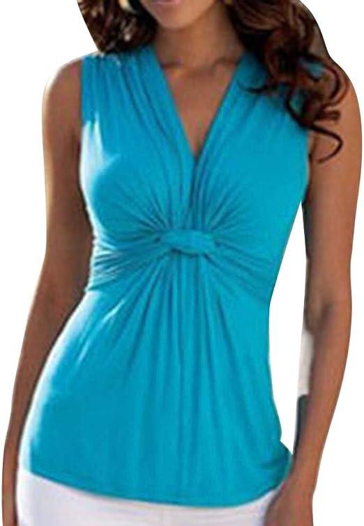 Mujer Fruncido Y Plisado Sin Mangas Camiseta V-Cuello Elegante Casual: Amazon.es: Deportes y aire libre