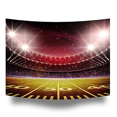Night Football Field Rugby Soccer Photography Backdrop Sport Stadium Washable Tapestry Photo Booth Background for Party Pictures,Table Decor,Bedroom Hanging HZ-1059 ()
