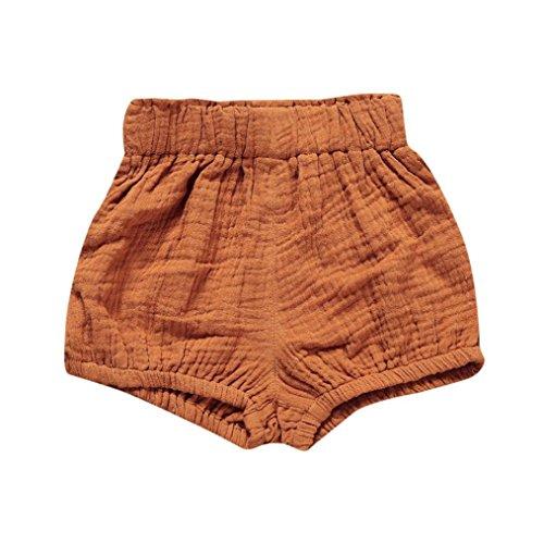 Hot Sale!Todaies Newborn Children Cute Pants Baby Girl Boys Dot Geometric Shorts Pants Cotton Linen Leggings (6-12M, Khaki) -
