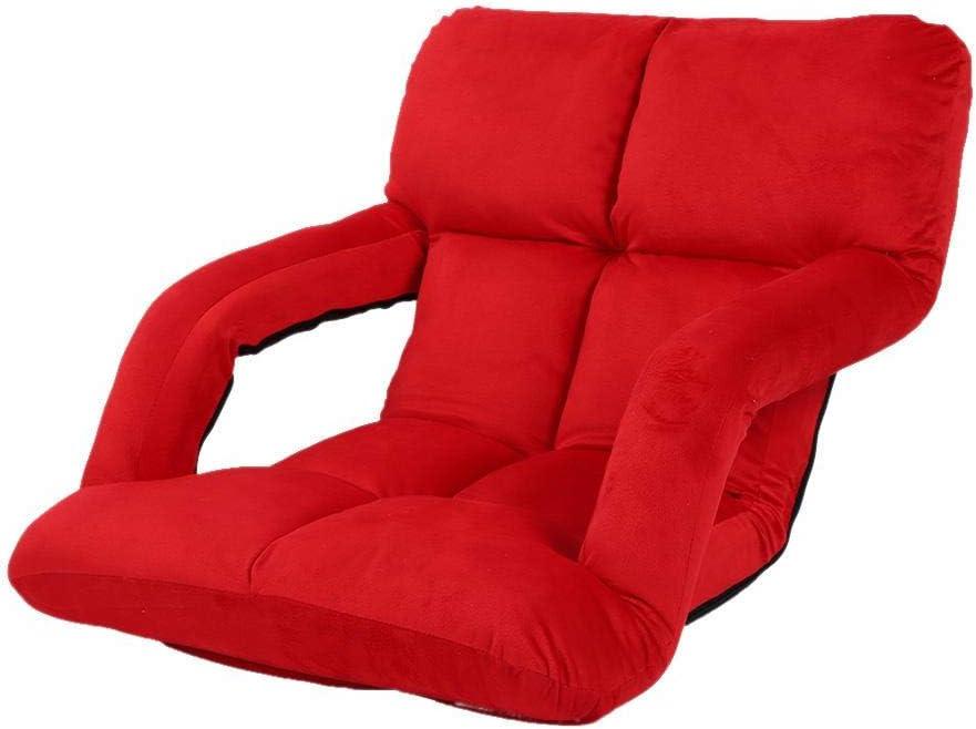 lyrlody Chaise de Plancher avec Accoudoir Chaise de Sol R/églable Chaise de Meditation Si/ège de Plancher R/églable Confortable pour la Lecture la T/él/évision Relaxante pour Salon Balcon Rouge