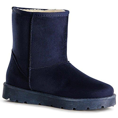 topschuhe24 1058 Damen Stiefeletten Boots Stiefel Blau