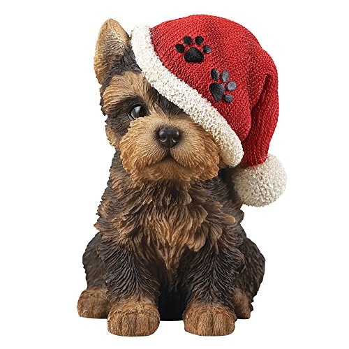 Collections Etc Christmas Puppy Dog in Santa Hat Tabletop Figurine Ideas for Dog Lovers, Yorkshire