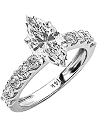 1.9 Cttw 14K White Gold Marquise Cut Classic Side Stone Prong Set Diamond Engagement Ring with a 1 Carat H-I Color SI2-I1 Clarity Center