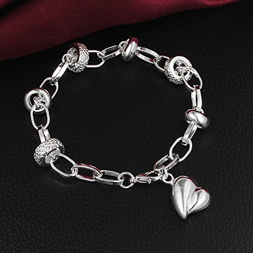Superhai 925 Silver Plated Fashion Boutique Jewelry Girls Hand Hanging Pursuit Heart-Shaped Bracelet